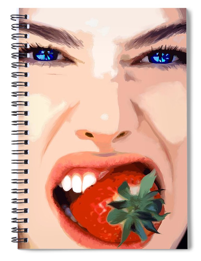 Pretty Girl Spiral Notebook featuring the digital art Strawberry - Pretty Faces Series by Gabriel T Toro