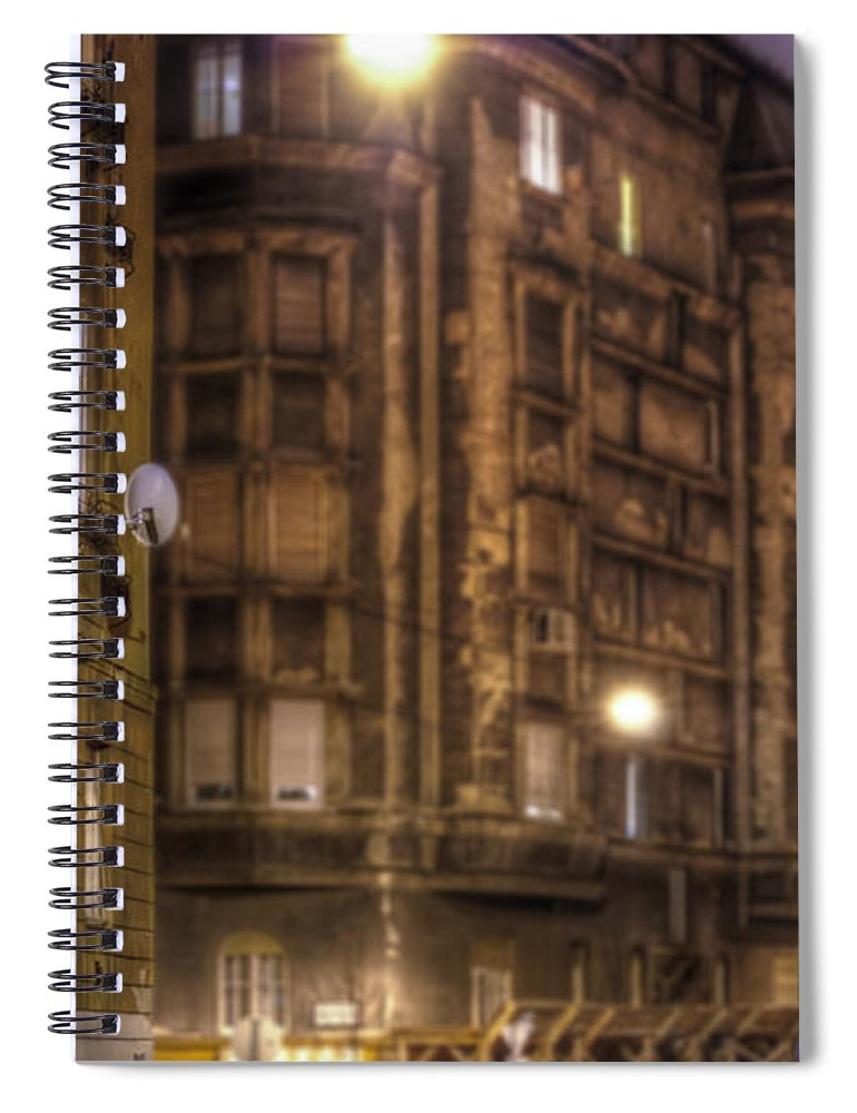 Street Spiral Notebook featuring the digital art Street Corner Budapest by Nathan Wright