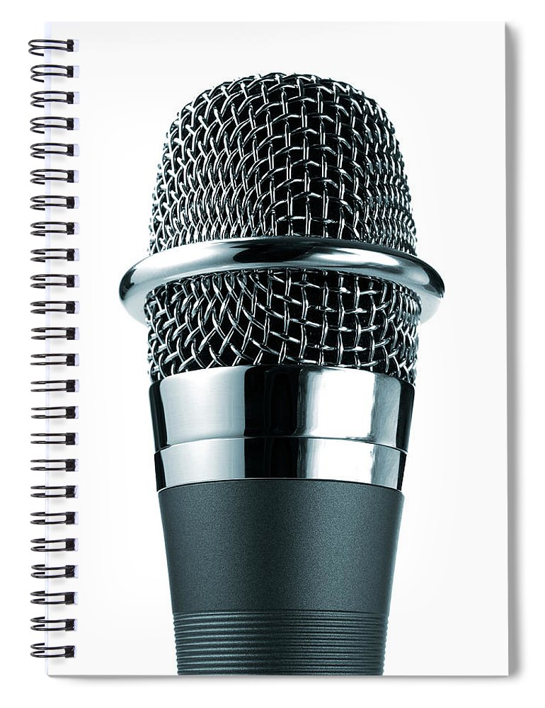 White Background Spiral Notebook featuring the photograph Studio Shot Of Microphone On White by David Arky
