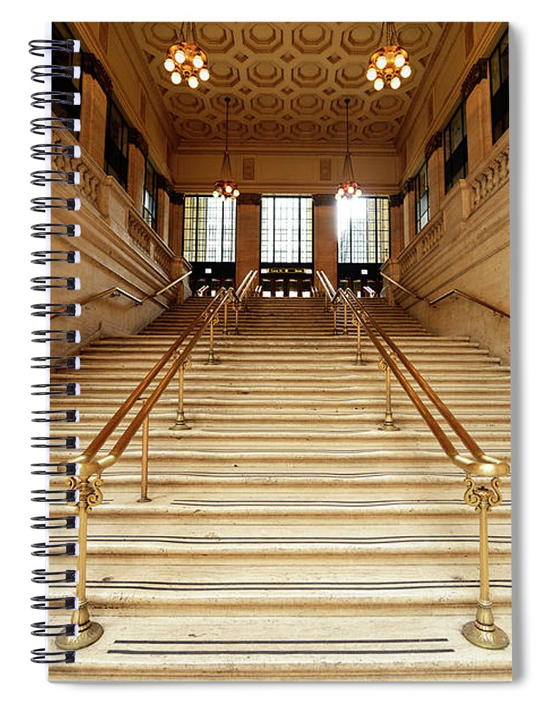 Steps Spiral Notebook featuring the photograph Subway Station Staircase,chicago by Lisa-blue