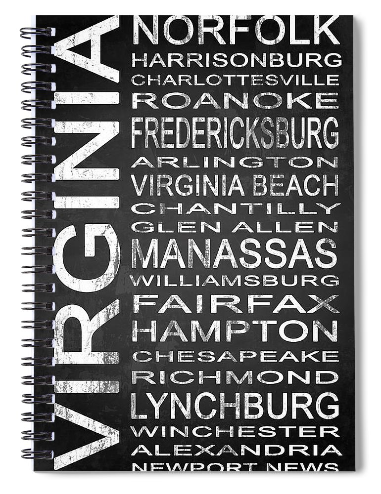 Subway Sign Spiral Notebook featuring the digital art Subway Virginia State 1 by Melissa Smith