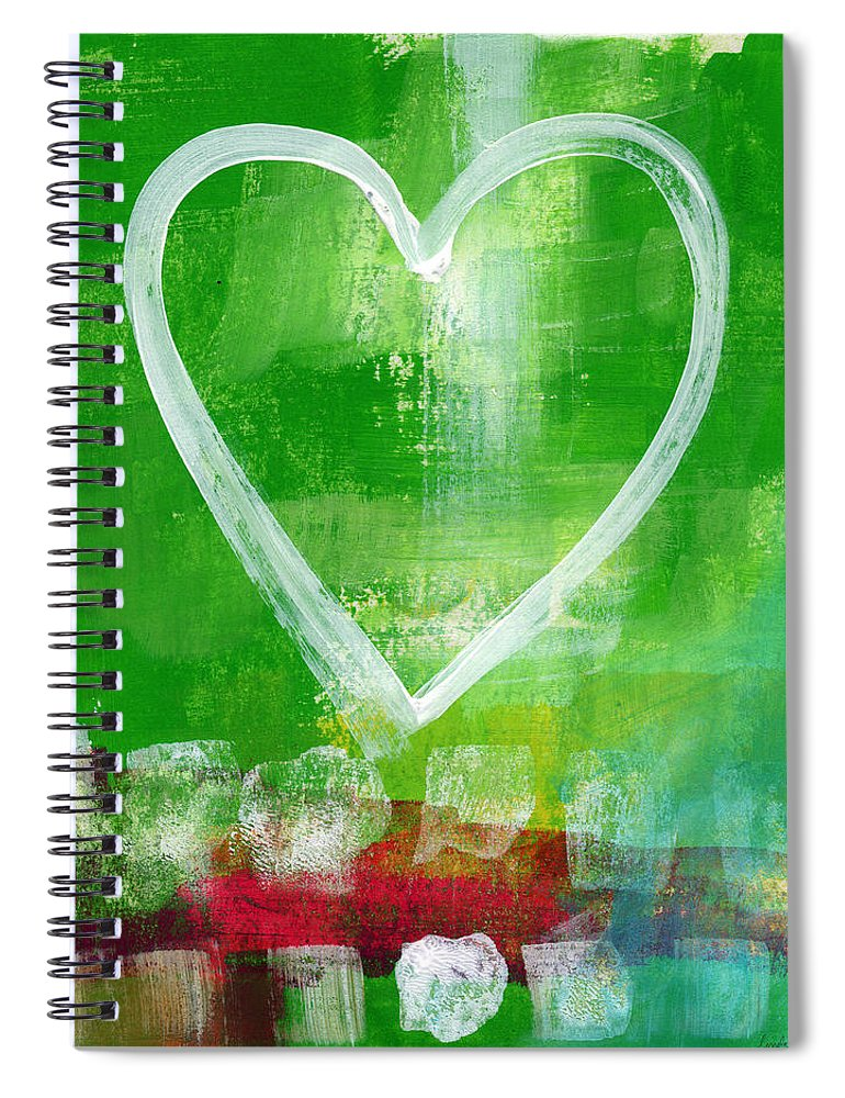 Heart Spiral Notebook featuring the painting Sumer Love- Abstract Heart Painting by Linda Woods