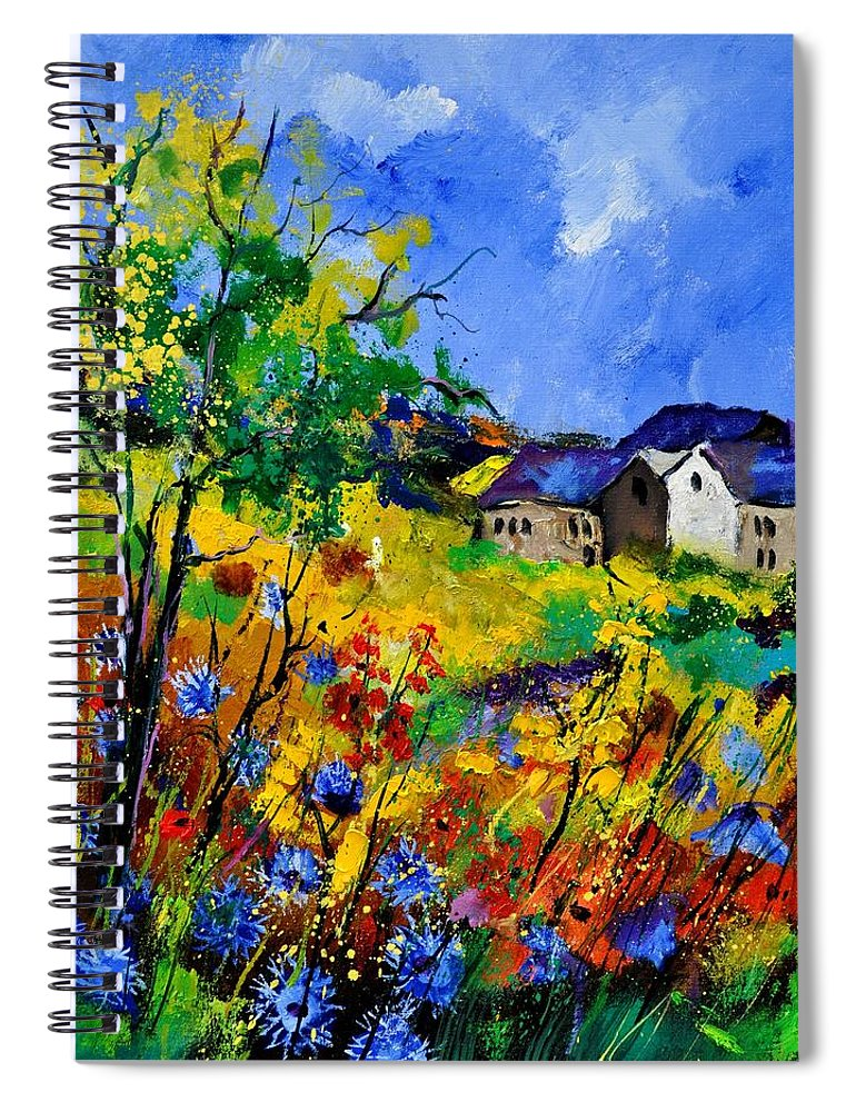 Landscape Spiral Notebook featuring the painting Summer 673180 by Pol Ledent