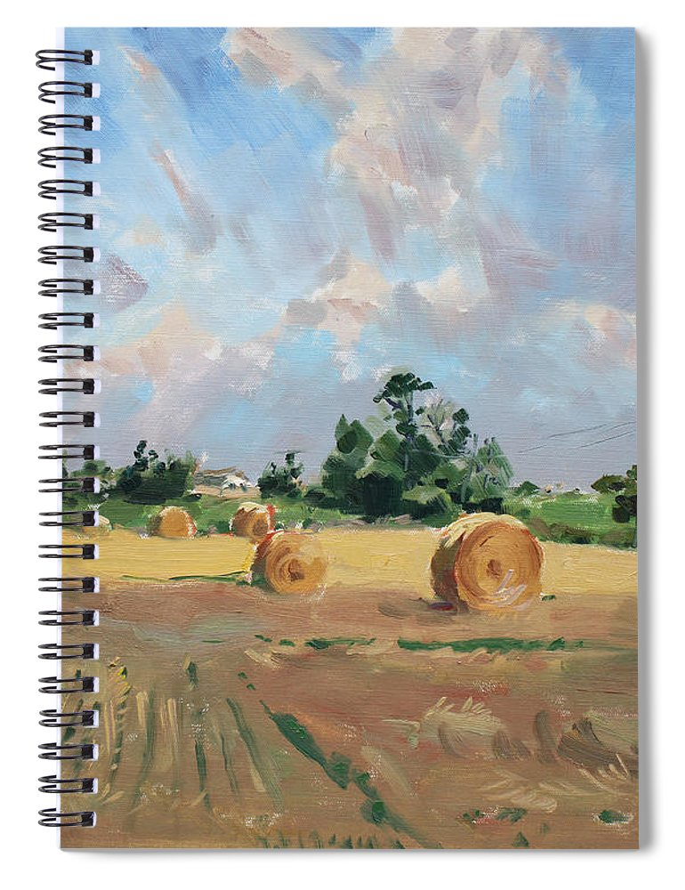 Summer Spiral Notebook featuring the painting Summer Fields In Georgetown On by Ylli Haruni