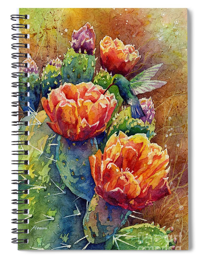 Cactus Spiral Notebook featuring the painting Summer Hummer by Hailey E Herrera