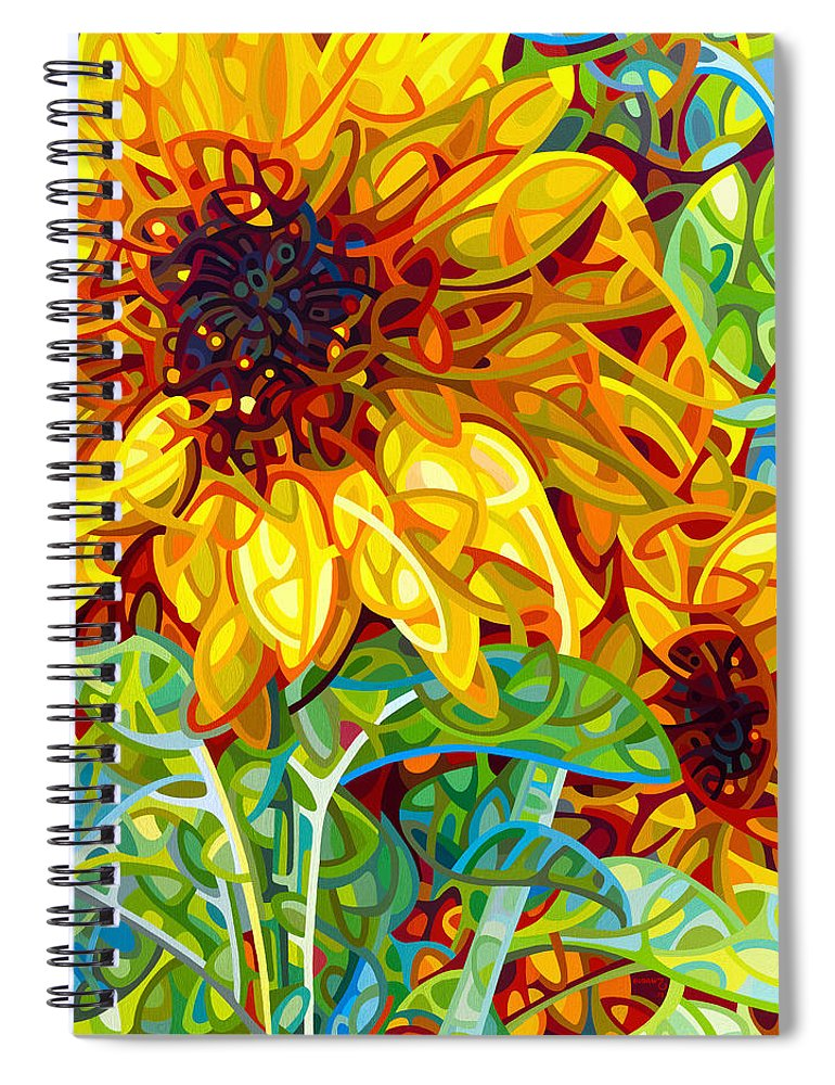 Summer Spiral Notebook featuring the painting Summer in the Garden by Mandy Budan
