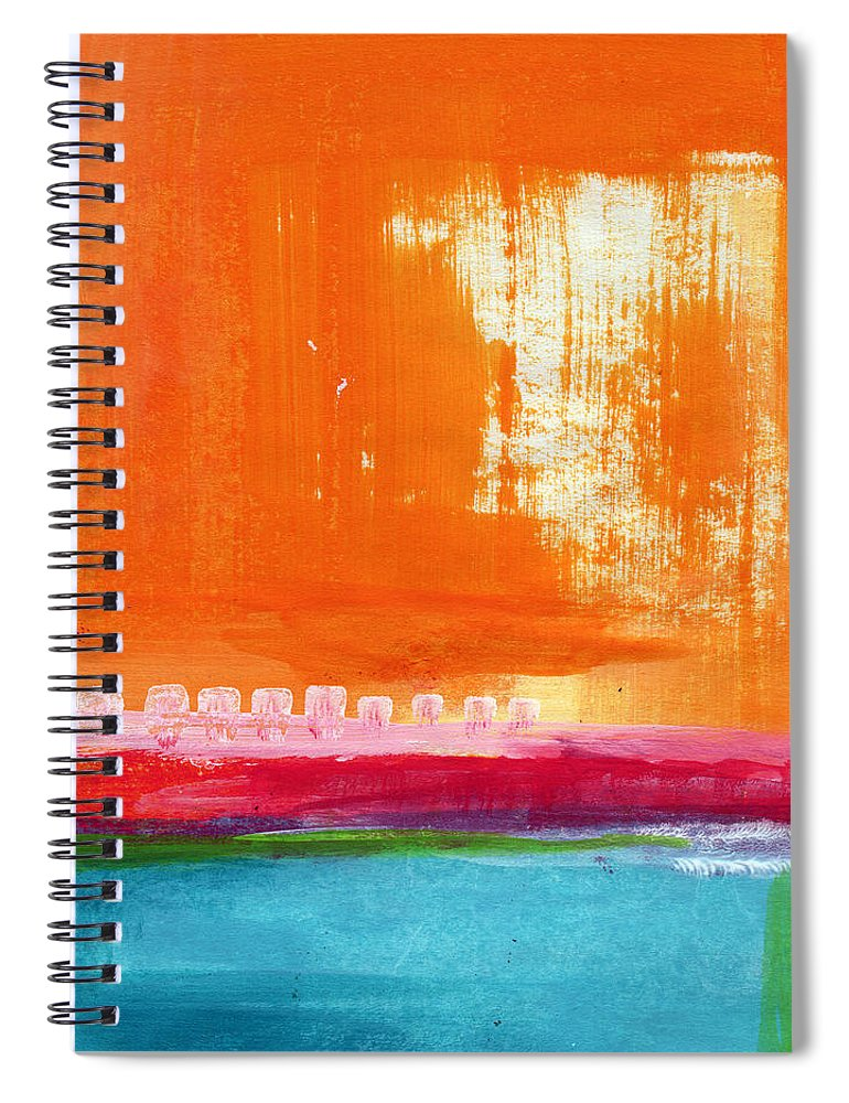 Orange Abstract Art Spiral Notebook featuring the painting Summer Picnic- colorful abstract art by Linda Woods