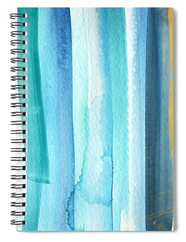 Water Spiral Notebook featuring the painting Summer Surf- Abstract Painting by Linda Woods
