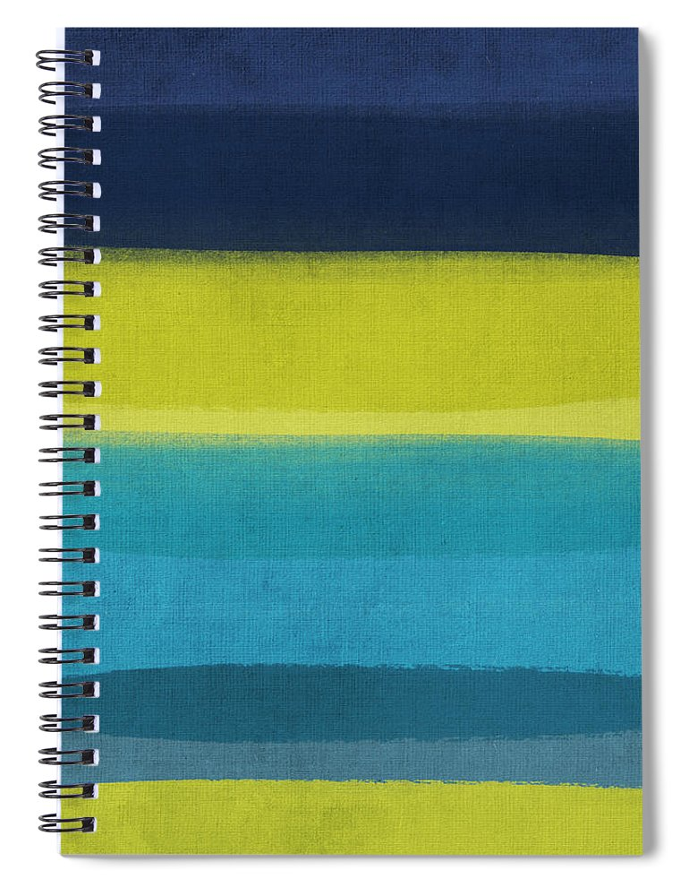 Abstract Spiral Notebook featuring the painting Sun and Surf by Linda Woods