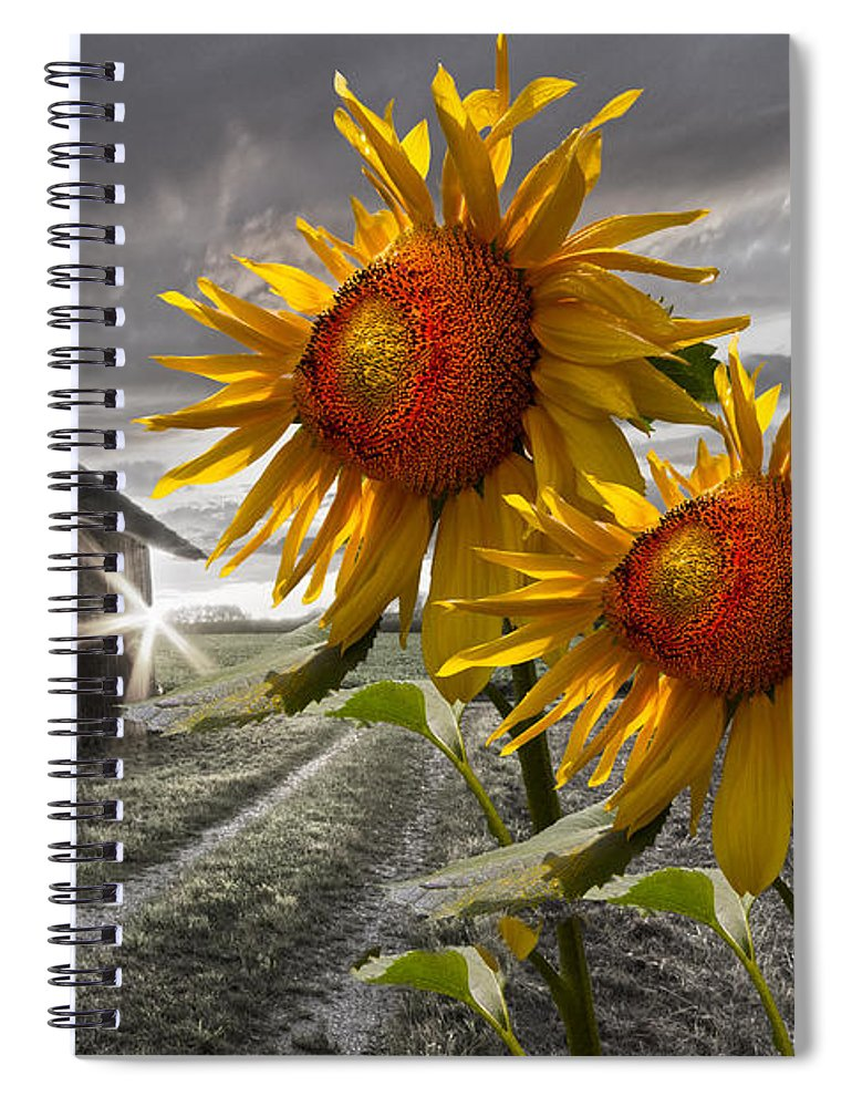 Appalachia Spiral Notebook featuring the photograph Sunflower Watch by Debra and Dave Vanderlaan