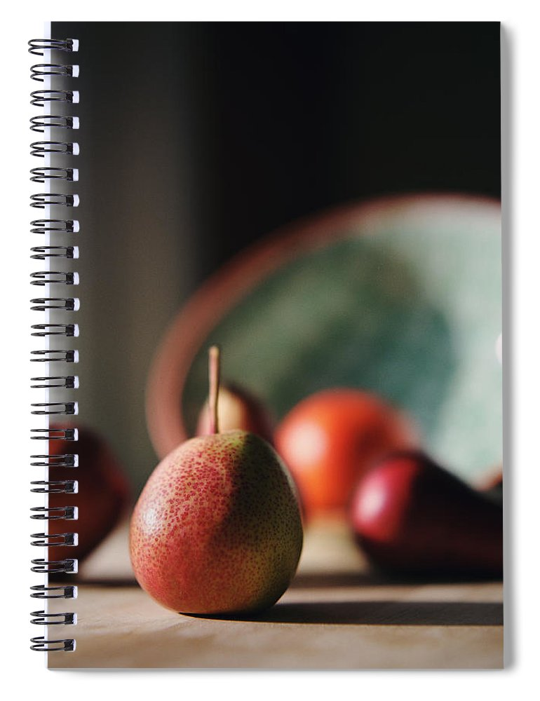 Shadow Spiral Notebook featuring the photograph Sunlit Pears On Kitchen Counter by Danielle D. Hughson