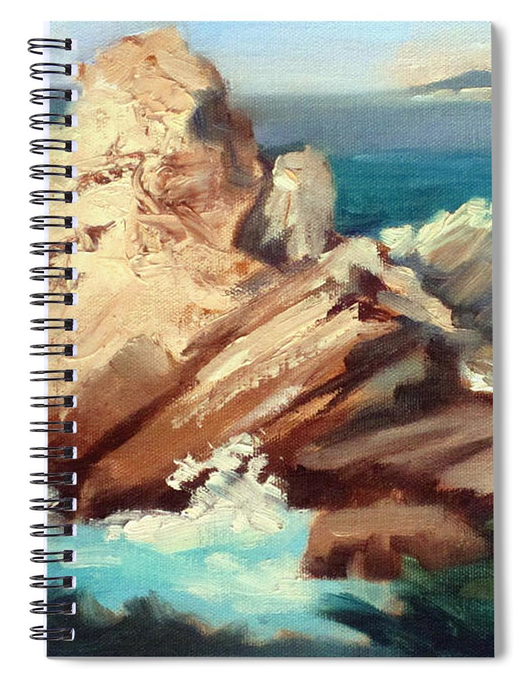 Point Lobos Spiral Notebook featuring the painting Sunlit Rock Point Lobos by Karin Leonard