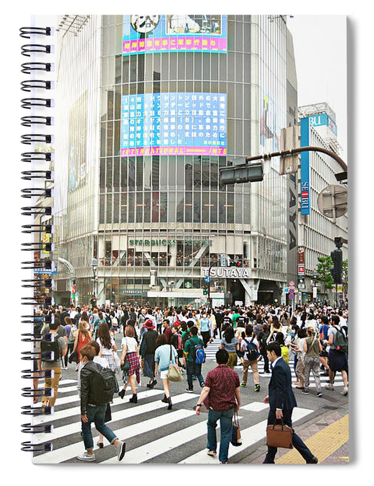 Crowd Spiral Notebook featuring the photograph Sunny Day In Shibuya by Xavierarnau