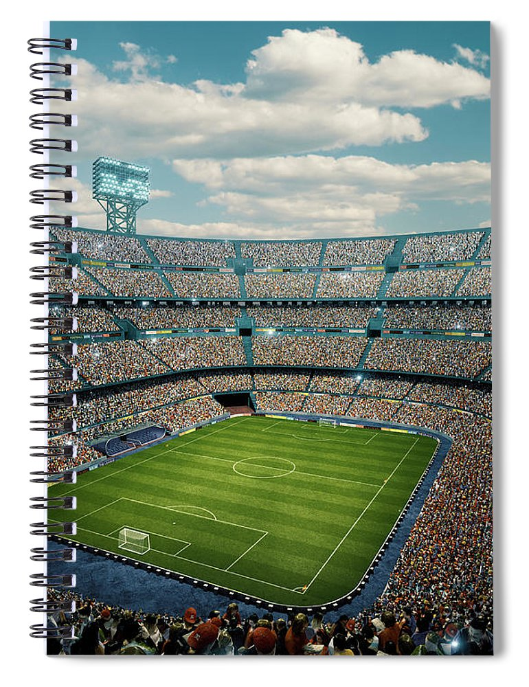 Event Spiral Notebook featuring the photograph Sunny Soccer Stadium Panorama by Dmytro Aksonov
