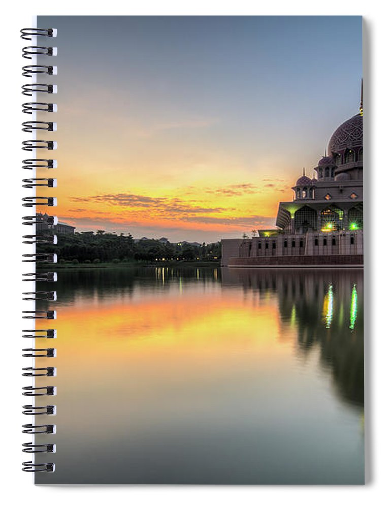 Tranquility Spiral Notebook featuring the photograph Sunrise | Masjid Putra, Putrajaya | Hdr by Mohamad Zaidi Photography