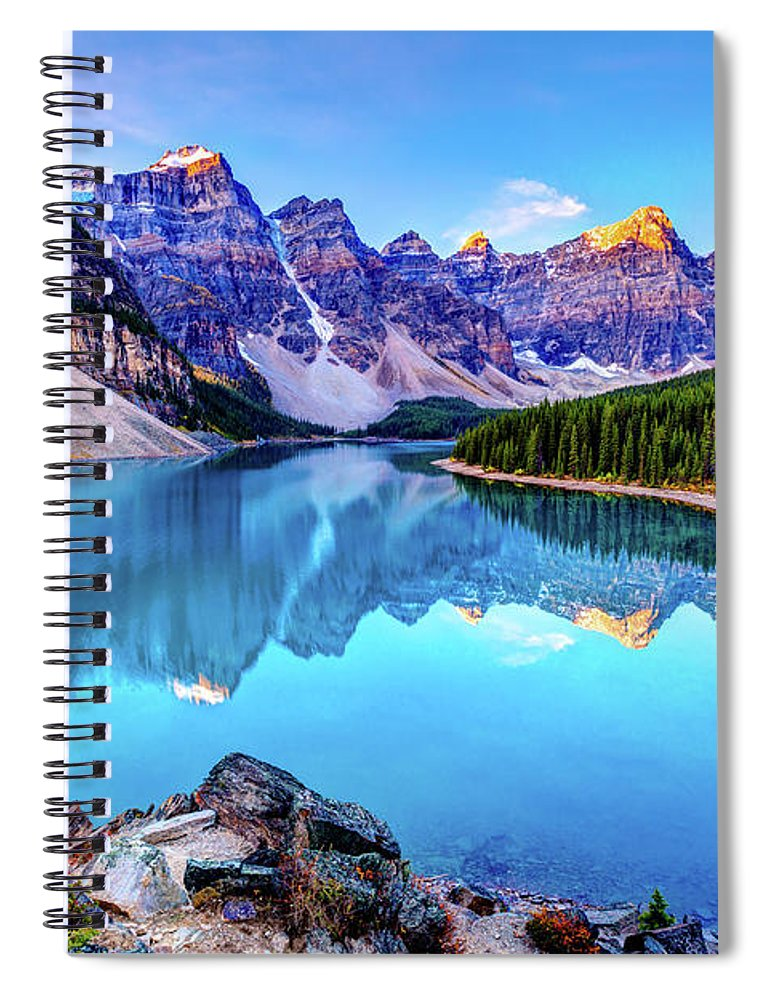 Tranquility Spiral Notebook featuring the photograph Sunrise At Moraine Lake by Wan Ru Chen