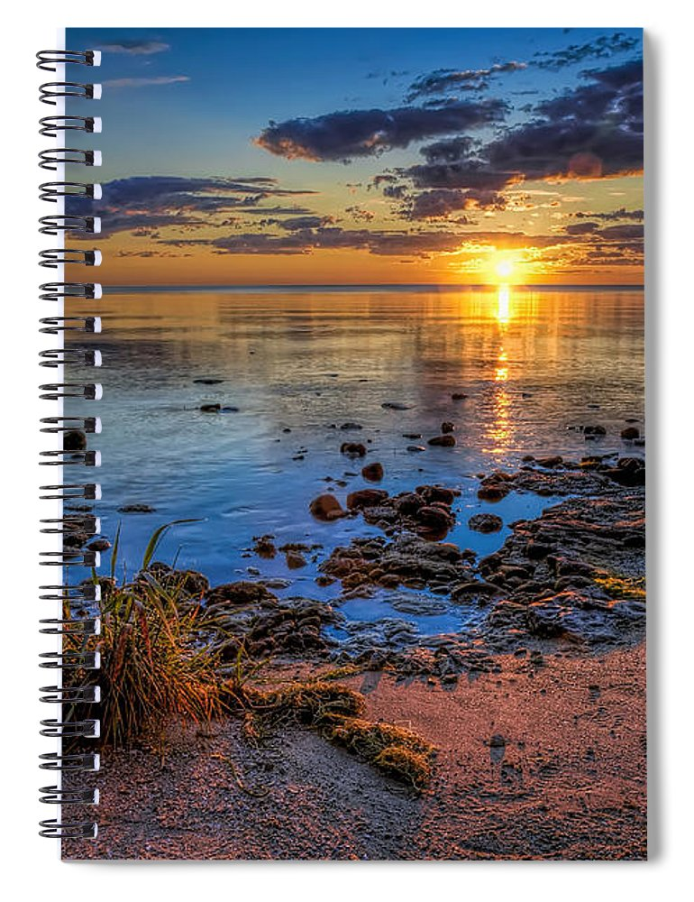 Sun Spiral Notebook featuring the photograph Sunrise over Lake Michigan by Scott Norris