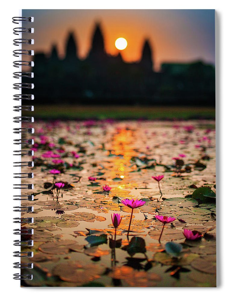 Tranquility Spiral Notebook featuring the photograph Sunrise Over The Lotus Flowers Of by © Francois Marclay