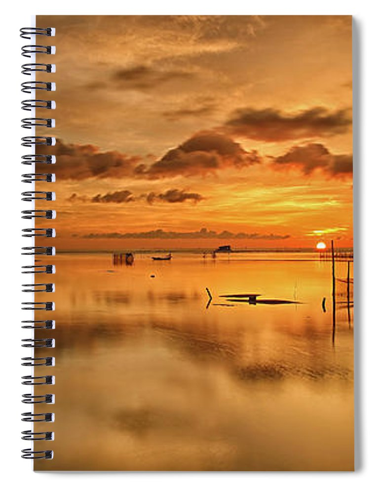 Scenics Spiral Notebook featuring the photograph Sunrise, Phu Quoc, Vietnam by Huyenhoang