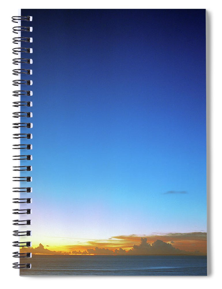 Tranquility Spiral Notebook featuring the photograph Sunset And Moon At Uluwatu by Vsevolod Vlasenko