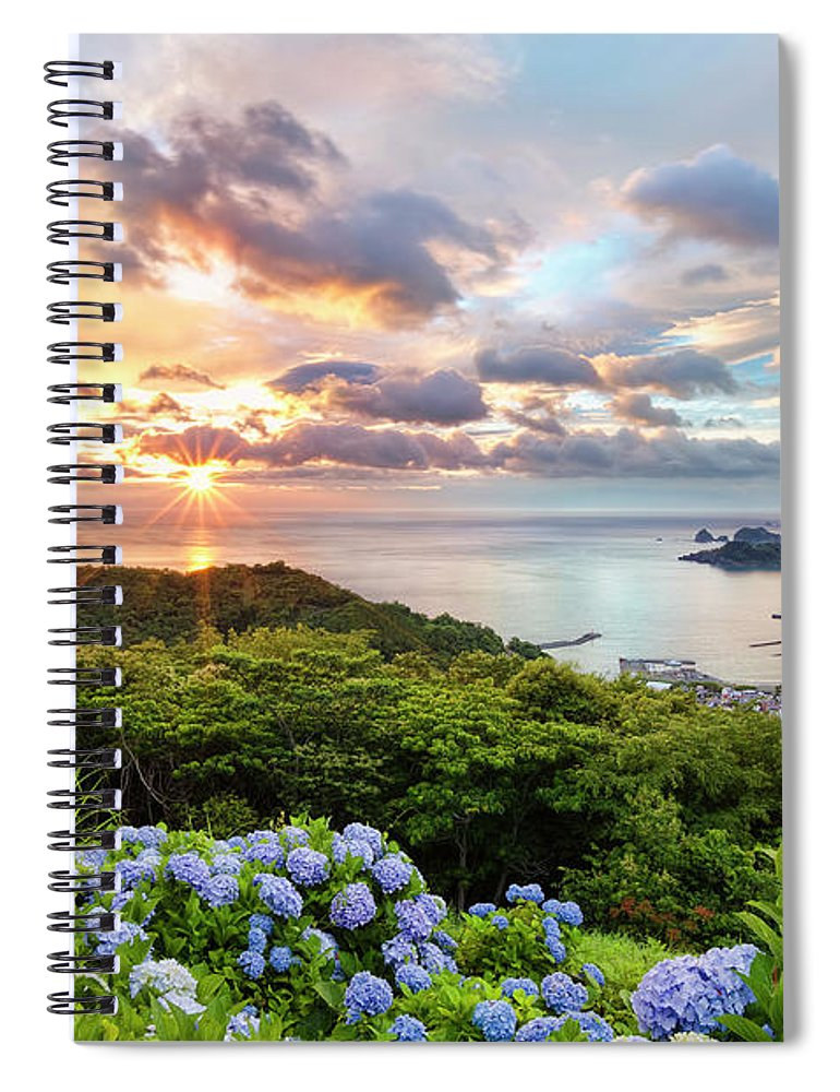 Tranquil Scene Spiral Notebook featuring the photograph Sunset At Hydrangea Hills by Tommy Tsutsui