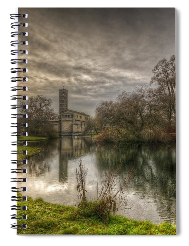 Antique Spiral Notebook featuring the digital art Sunset Church Of Peace by Nathan Wright