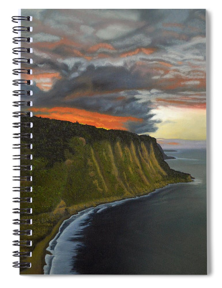 Waipio Lookout Spiral Notebook featuring the painting Sunset In Paradise by Thu Nguyen
