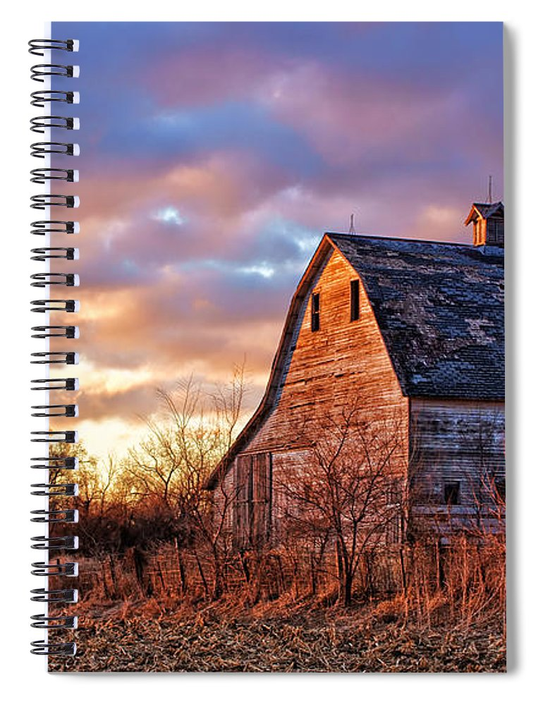 Barns Spiral Notebook featuring the photograph Sunset In The Country by Nikolyn McDonald