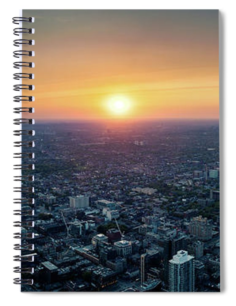 Downtown District Spiral Notebook featuring the photograph Sunset Over Toronto Downtown City by D3sign