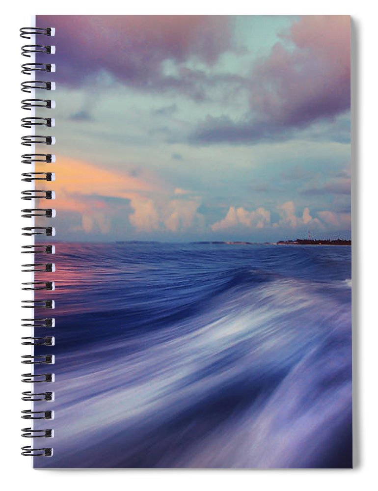 Maldives Spiral Notebook featuring the photograph Sunset Wave. Maldives by Jenny Rainbow
