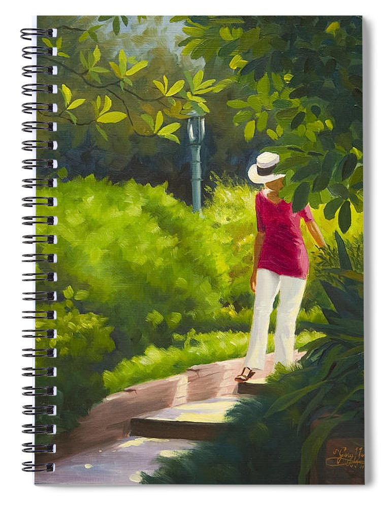 Garden Spiral Notebook featuring the painting Sunspots and Shadow by Gary Hernandez