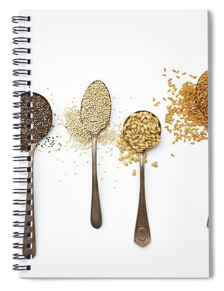 White Background Spiral Notebook featuring the photograph Super Food Grains by Lew Robertson