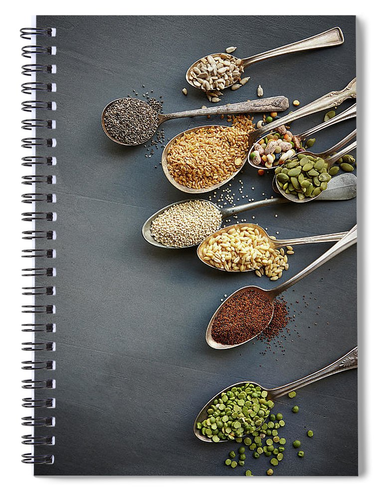 In A Row Spiral Notebook featuring the photograph Super Food Grains On Spoons by Lew Robertson