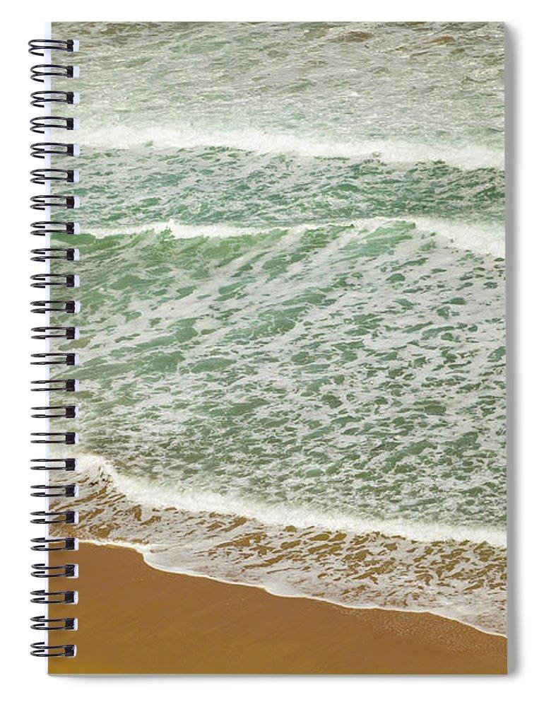 00463444 Spiral Notebook featuring the photograph Surf On Beach Otway Natl Park Victoria by Yva Momatiuk John Eastcott