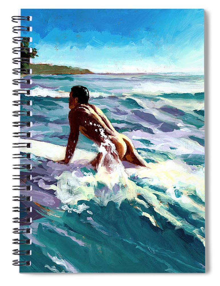 Surfer Spiral Notebook featuring the painting Surfer Coming In by Douglas Simonson