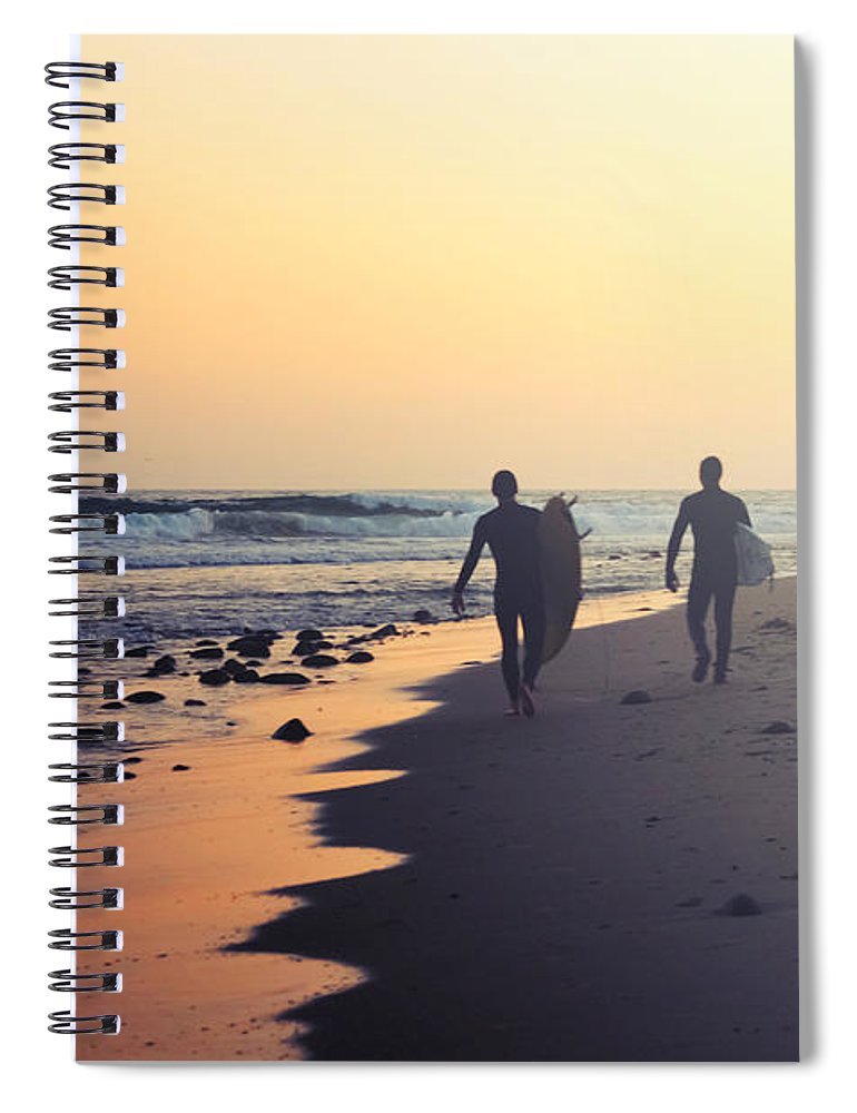 Water's Edge Spiral Notebook featuring the photograph Surfing Rincon Point Surfers Beach by Amparo E. Rios