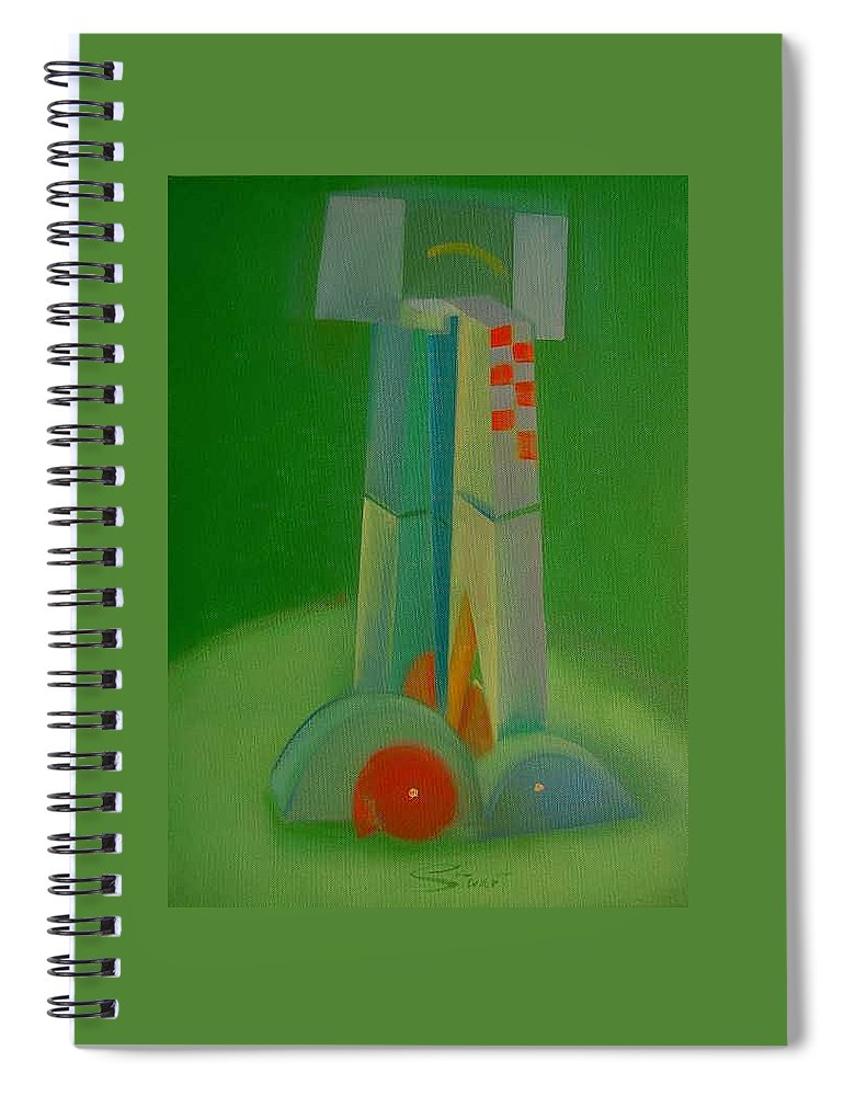 Cubist View Of Figure Spiral Notebook featuring the painting Survivors by Charles Stuart