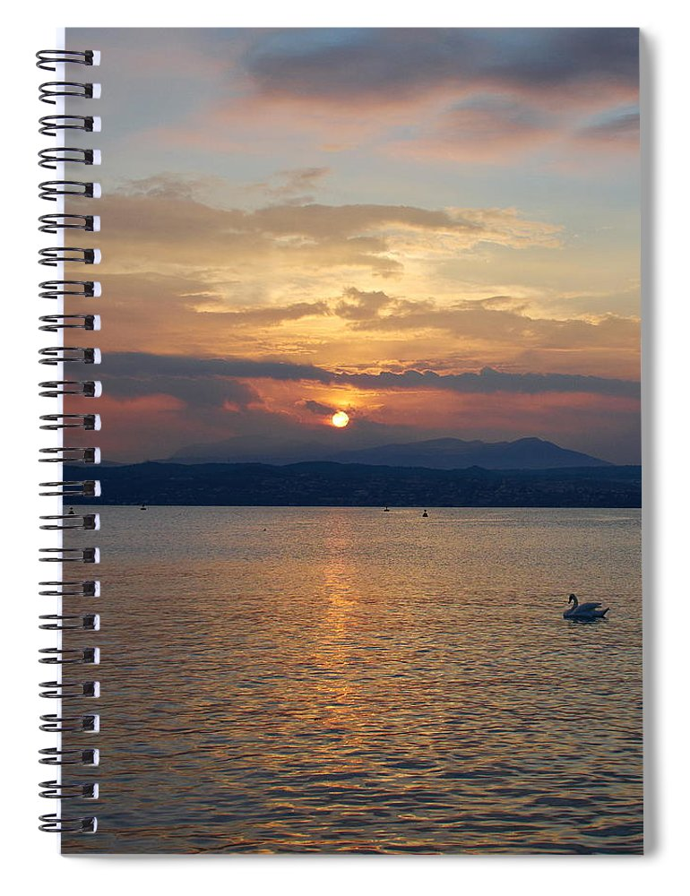Francacorta Spiral Notebook featuring the photograph Swan And Sunset. Sirmione. Lago Di Garda by Jouko Lehto