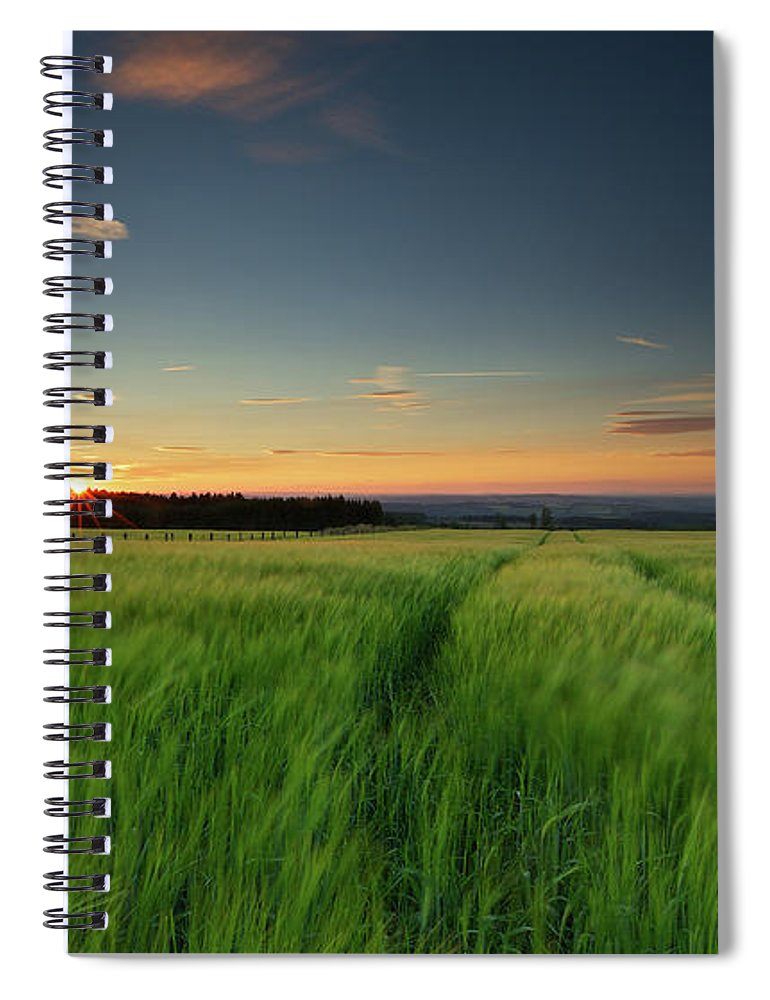 Tranquility Spiral Notebook featuring the photograph Swaying Barley At Sunset by By Simon Gakhar