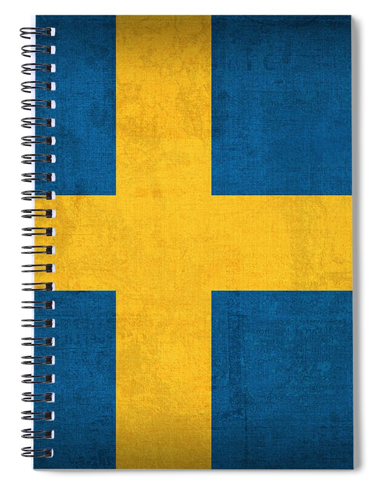 Sweden Flag Vintage Distressed Finish Spiral Notebook featuring the mixed media Sweden Flag Vintage Distressed Finish by Design Turnpike