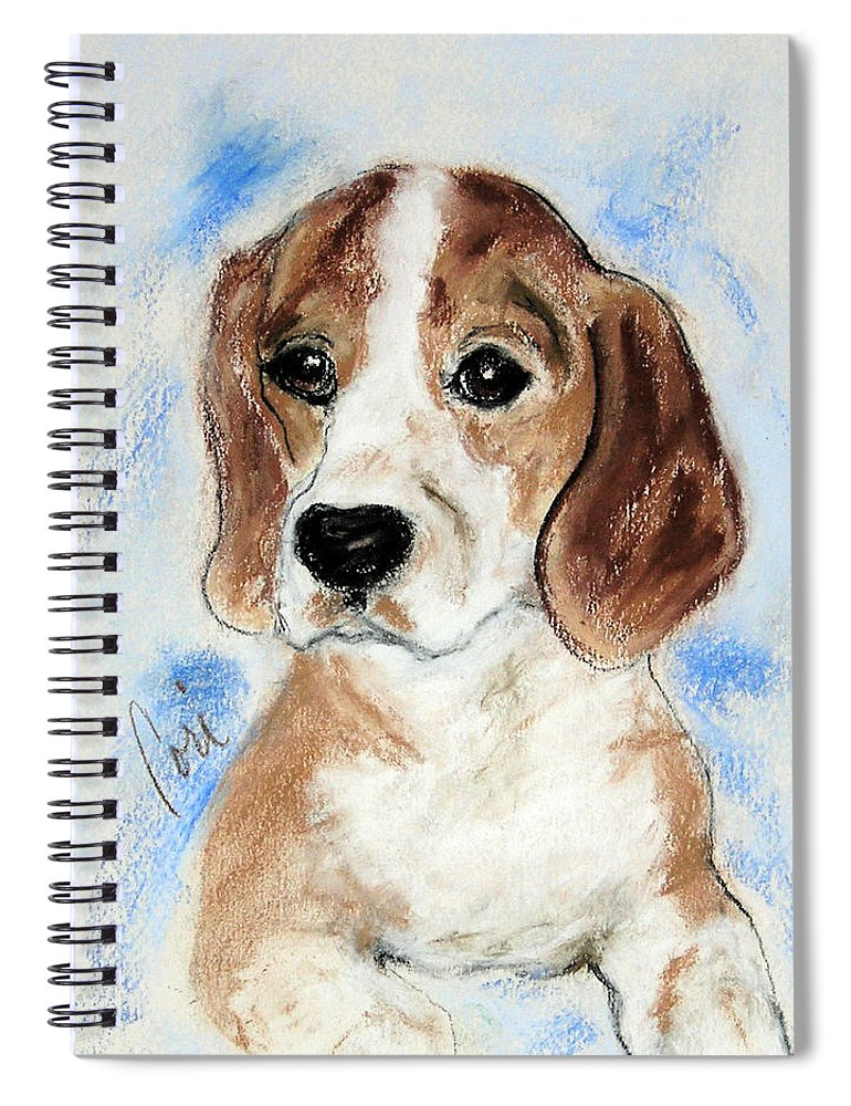 Dog Spiral Notebook featuring the drawing Sweet Innocence by Cori Solomon