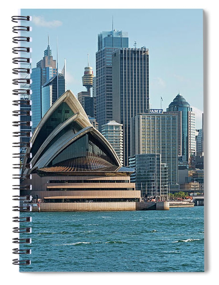 Built Structure Spiral Notebook featuring the photograph Sydney Opera House And Waterfront by Marco Simoni