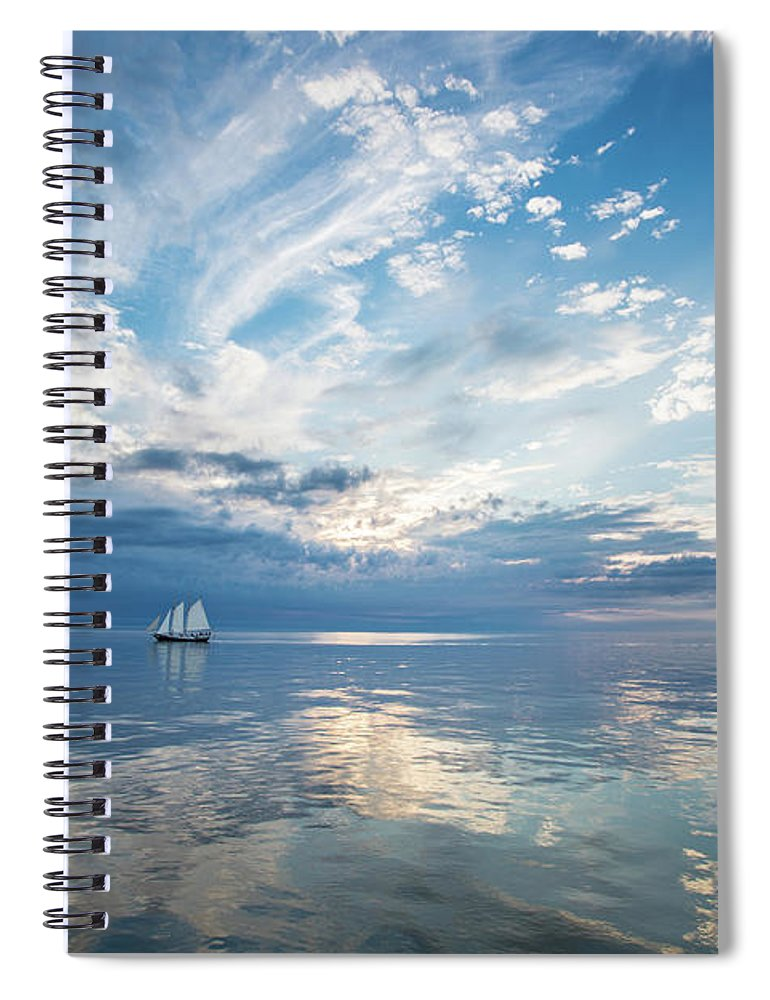 Tranquility Spiral Notebook featuring the photograph Tall Ship On The Big Lake by Rudy Malmquist