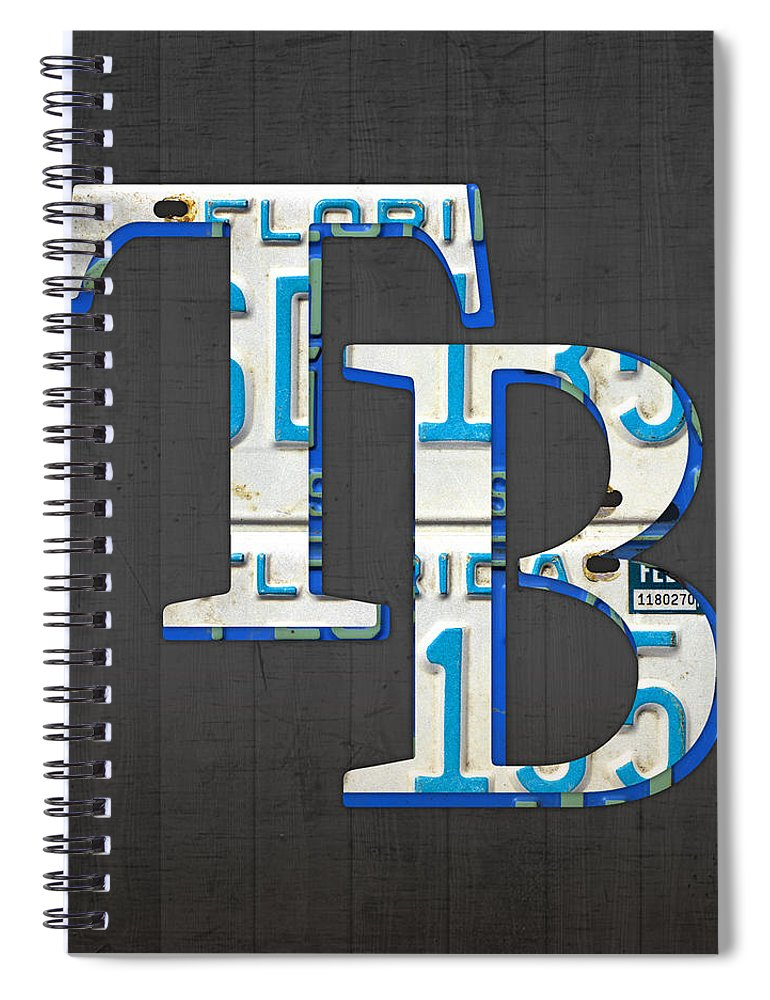 tampa bay devil rays baseball team vintage logo recycled florida license plate art spiral notebook for sale by design turnpike fine art america