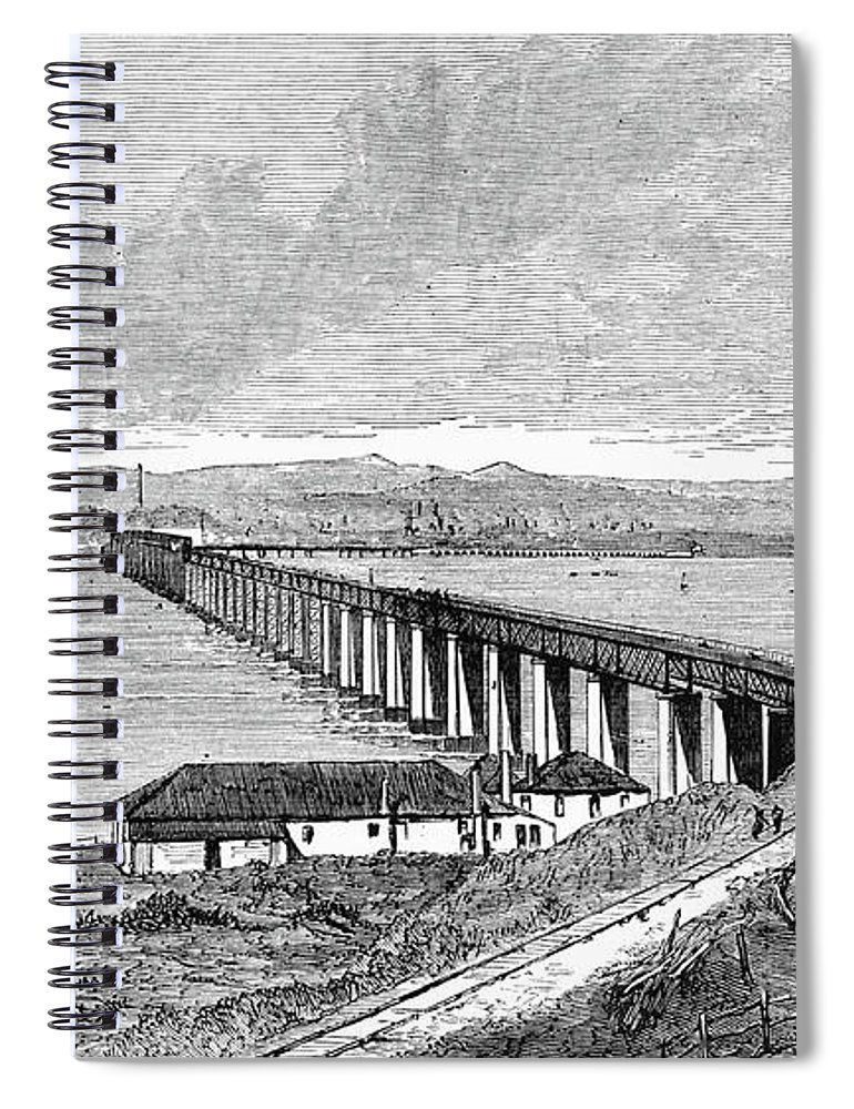 1879 Spiral Notebook featuring the painting Tay Rail Bridge, 1879 by Granger