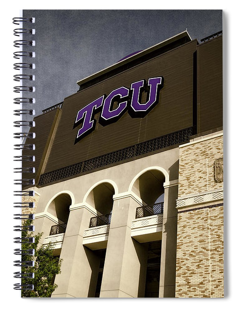 Joan Carroll Spiral Notebook featuring the photograph Tcu Stadium Entrance by Joan Carroll