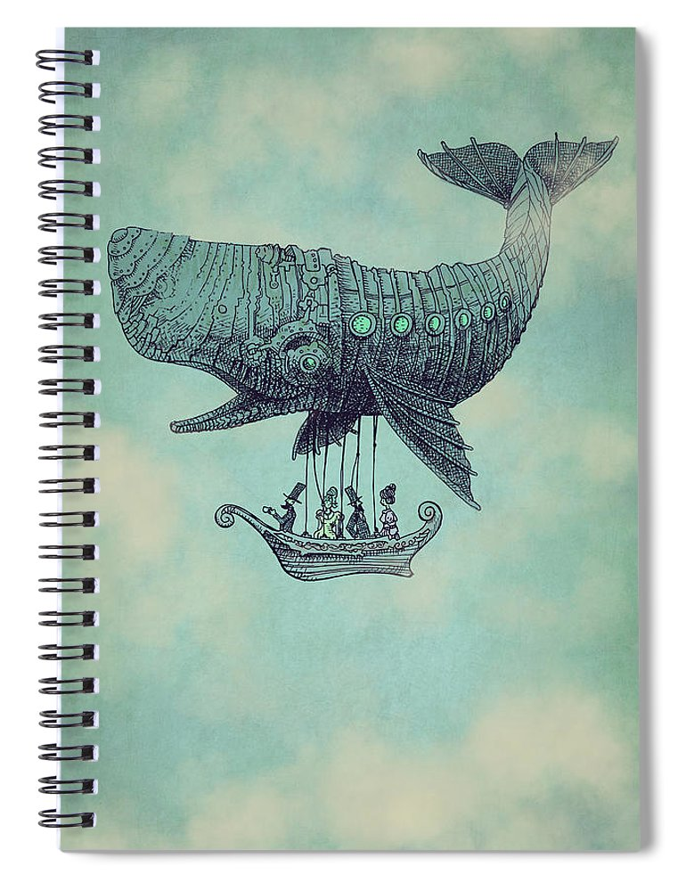 Whale Spiral Notebook featuring the drawing Tea At Two Thousand Feet by Eric Fan