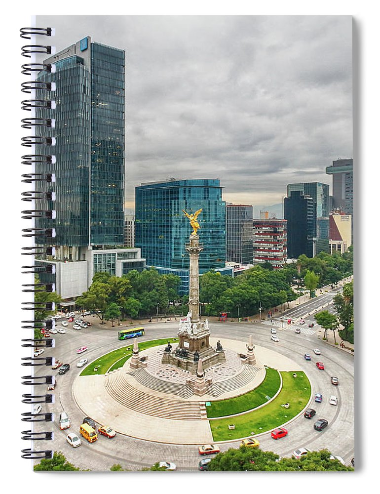 Mexico City Spiral Notebook featuring the photograph The Angel Of Independence, Mexico City by Sergio Mendoza Hochmann