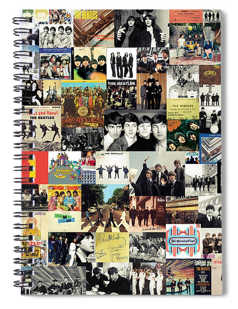 The Beatles Spiral Notebook featuring the digital art The Beatles Collage by Zapista OU