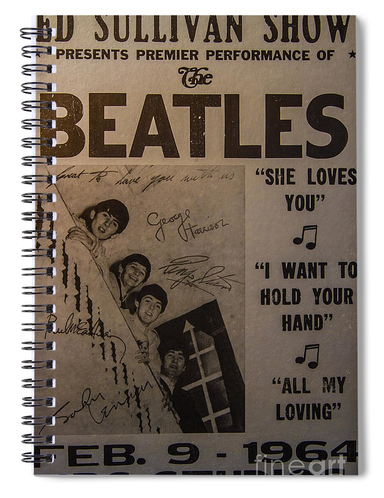 The Beatles Ed Sullivan Show Poster Spiral Notebook featuring the photograph The Beatles Ed Sullivan Show Poster by Mitch Shindelbower